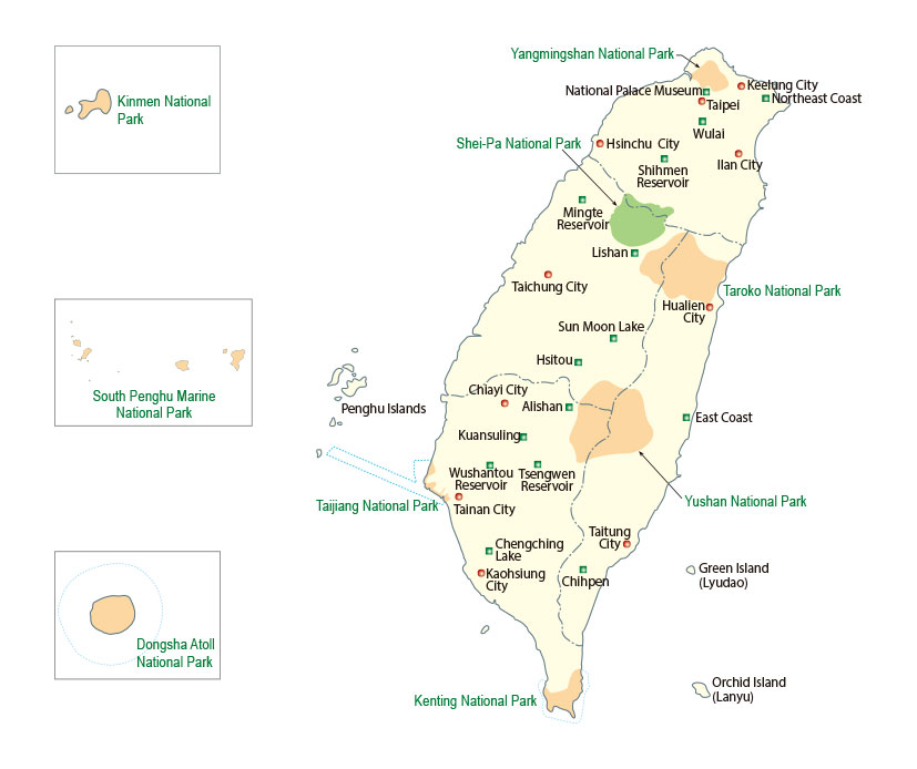 The Distribution of National parks in Taiwan